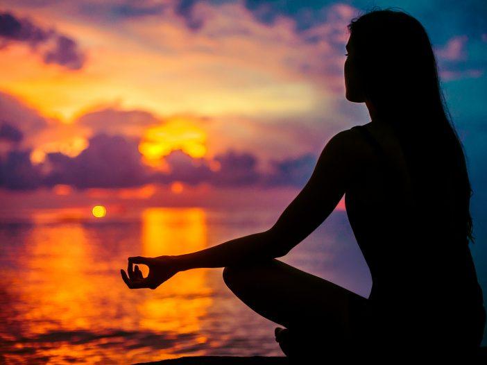 Woman Meditating, Relaxing In Yoga Pose At Sunset, Zen Meditatio