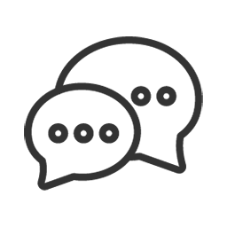 Line drawing of two text message bubbles containing ellipses.