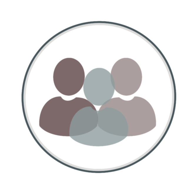 Silhouettes of three different people inside a blue circle.
