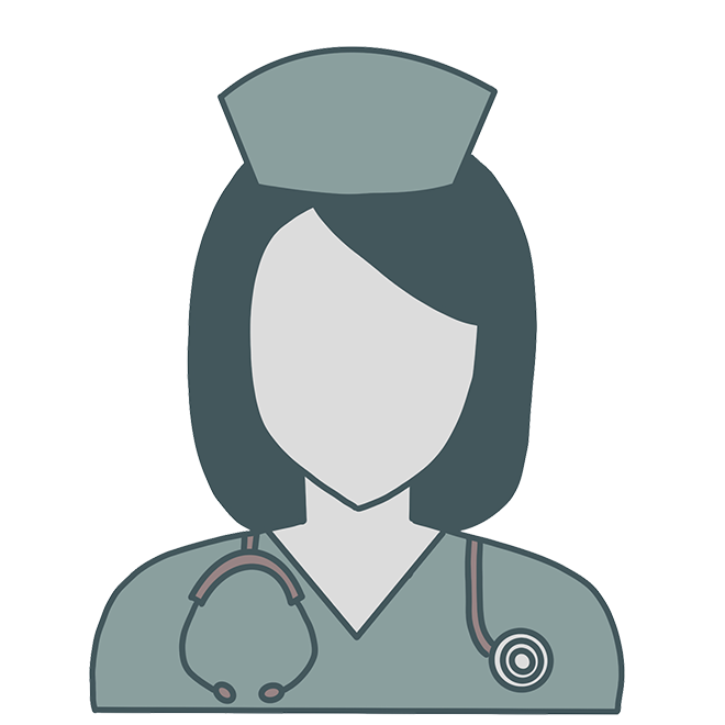 Line drawing of a woman dressed as a nurse. She has a stethoscope around her neck and a vintage nurse's hat on.